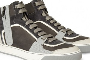 Lanvin Leather & Suede Panelled Hi-Top Trainers